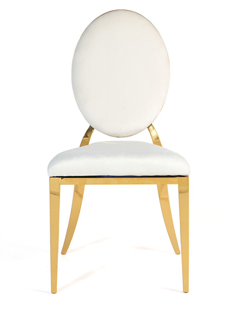 White Oval Back Gold Frame Chair